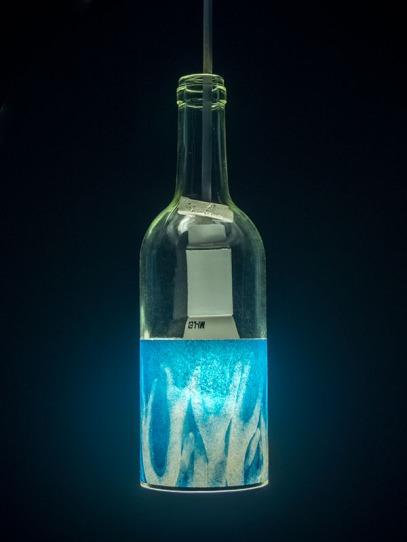 Lampara decorativa botella - impresion de algas de Lanzarote