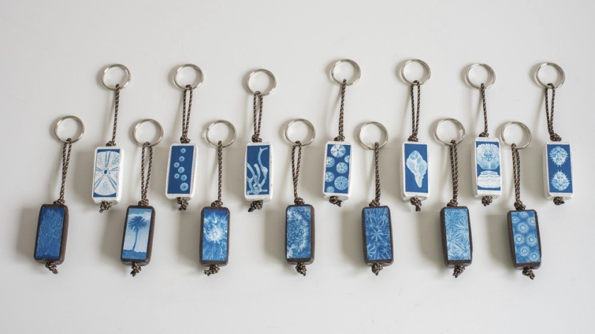 keyrings made with recicled corks and a cyanotype print