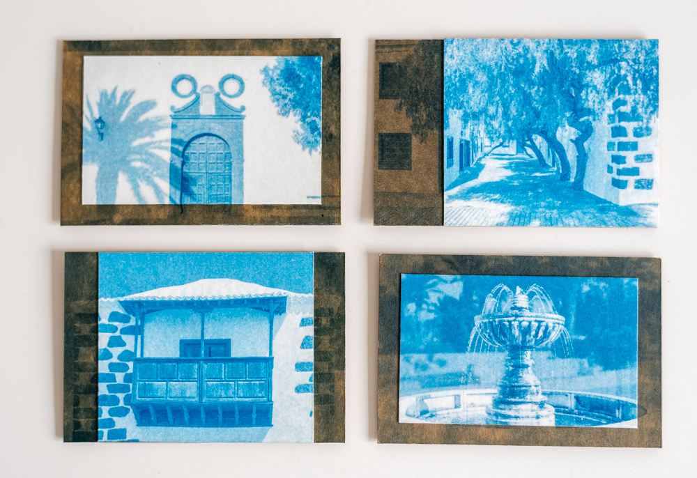 cyanotype magnets on cardboard with paper insert