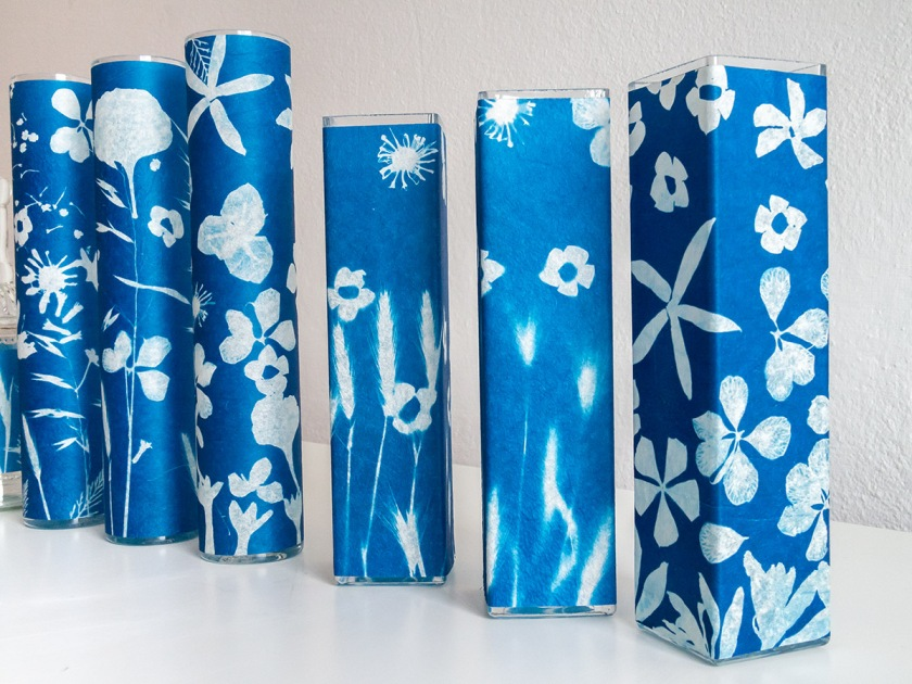 flower vases printed in cyanotype