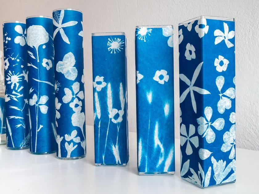 flower vases printed in cyanotype