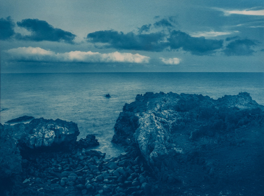cyanotype print: Seashore volcanic rocks, Los Cocoteros