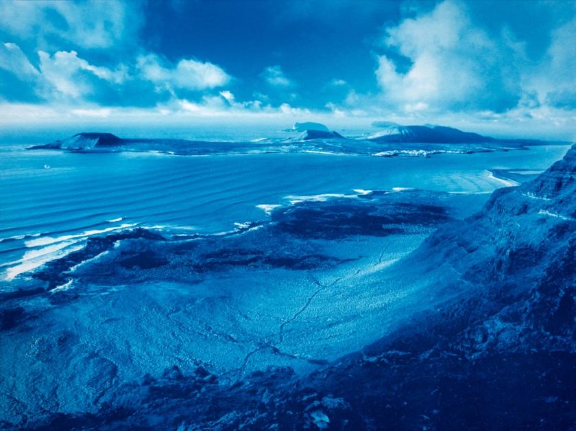 """40x30cm (16x12"""") cyanotype print: el Rio and La Graciosa"""