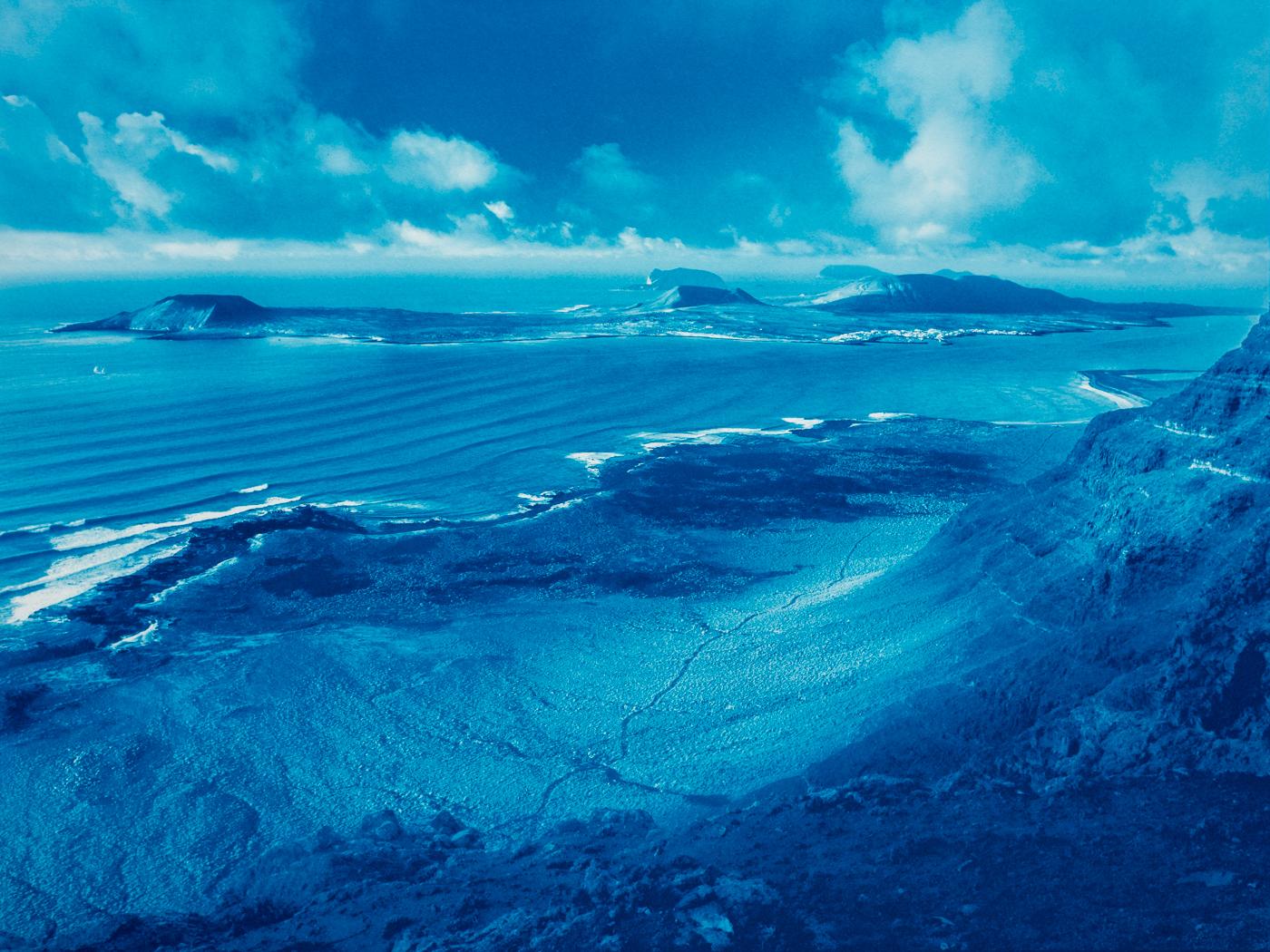 cyanotype print el Rio and La Graciosa
