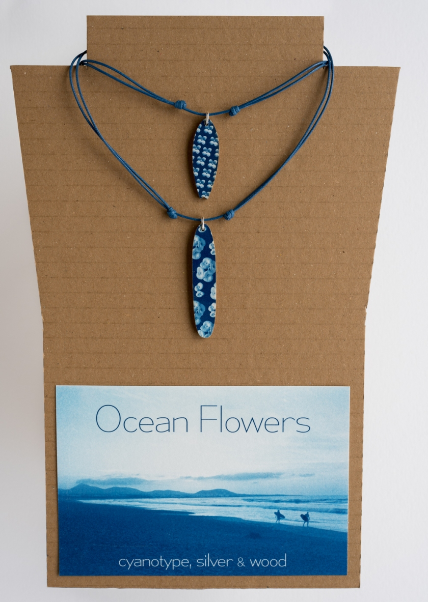 Ocean Flowers cyanotype surf neck