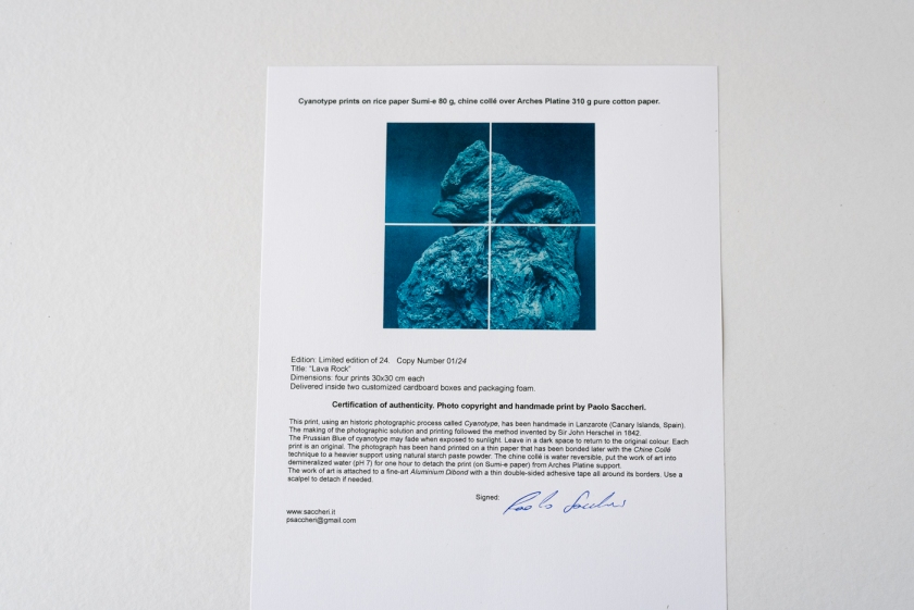Rock cyanotype certificate