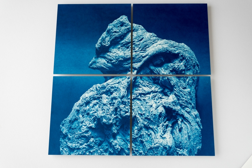 Rock cyanotype display